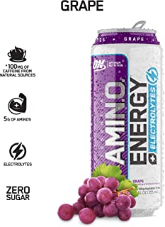 OPTIMUM NUTRITION ESSENTIAL AMINO ENERGY Plus Electrolytes Sparkling Hydration Drink, Grape, Keto Friendly BCAAs, 12 Count