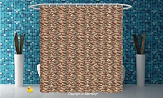 DIY Creative Bath Curtain personality Suit Shade Curtain,Abstract,Town Houses Pattern with Cool Tiled Roof Urban Architecture City Life Decorative,Cream Coral Chocolate,79