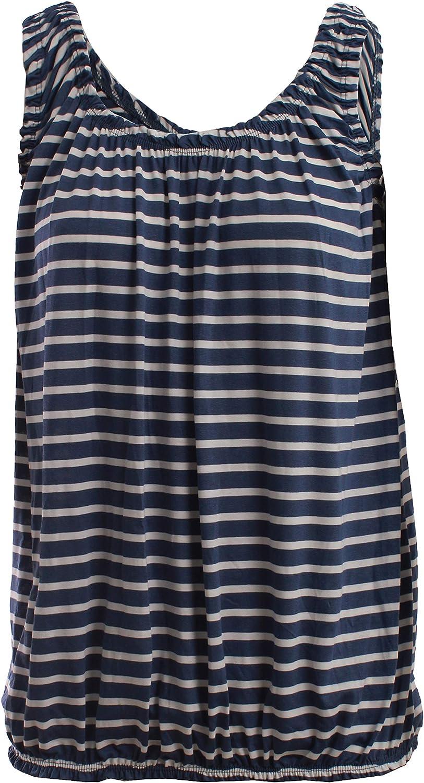 Ladies Plain Round Scoop Neckline Loose Fit Elasticated Waist Stretch Slim Straps Flared Swing Camisole Sleeveless T-Shirt Vest Top