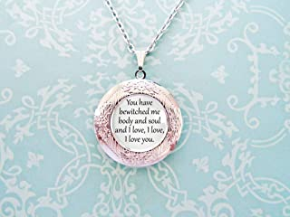 Pride and Prejudice- Book Necklace- Book Locket- Jane Austen Gifts- Bookish Gifts- You have bewitched me body and soul and I love you.