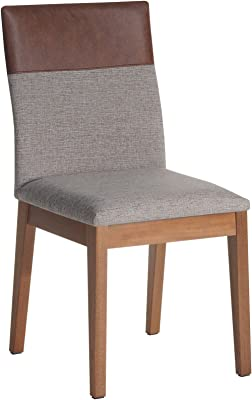 Manhattan Comfort 1011353 Duke Faux Leather and Fabric Dining Chair, Grey/Brown