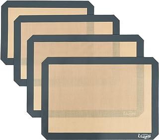 Lazymi Lot de 4 Tapis de Cuisson en Silicone, Anti-Adhérent Feuille de Cuisson Patisserie, Réutilisable Tapis de Four pour...