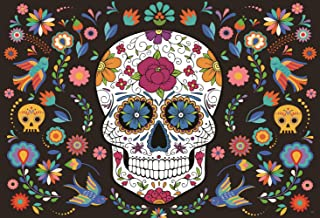 HMTfoto 7x5ft Photography Backdrop for Mexican Fiesta Skull Dia DE Los Muertos Photo Booth Birthday Party Supplies Banner Table Decoration