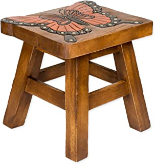 Sea Island Imports Monarch Butterfly Hand Carved Acacia Hardwood Decorative Short Stool