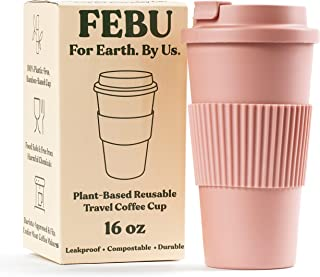 FEBU Plant-Based Reusable Coffee Cup with Lid and Sleeve | 16oz, Dusty Rose | Portable Travel Mug made from Bamboo | Dishwasher Safe, Compostable, Plastic Free with Leak-Proof Screw-on Lid
