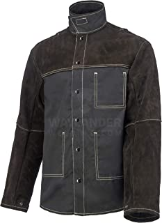 Waylander Welding Jacket Large Split Leather Heat Fire Resistant Cotton Kevlar Stitched Cowhide Dark Brown - L