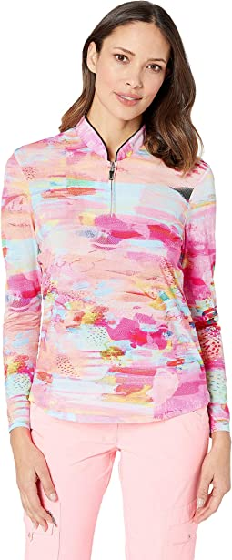 Sunsense® 50 UVP 1/4 Zip Long Sleeve Top with Watercolor Print