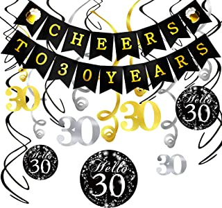 30th Birthday Decorations Kit- Konsait Cheers to 30 Years Banner Swallowtail Bunting Garland Sparkling Celebration 30 Hanging Swirls,Perfect 30 Years Old Party Supplies 30th Anniversary Decorations