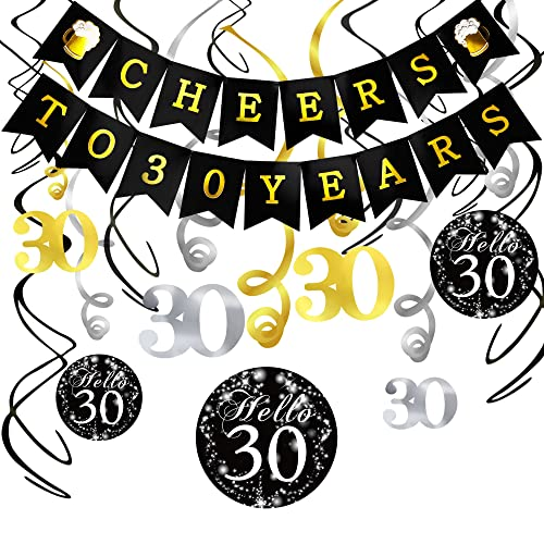 30th Birthday Decorations Kit Konsait Cheers To 30 Years Banner Swallowtail Bunting Garland Sparkling Celebration
