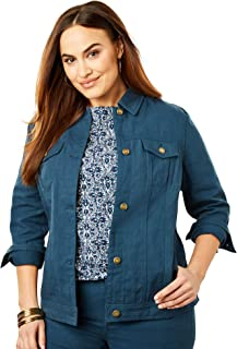 Jessica London Womens Plus Size Classic Cotton Denim Jacket