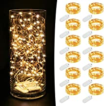 MUMUXI 12 Pack Fairy Lights Battery Operated (Included) 7.2Ft 20 LED Mini Waterproof Fairy String Lights Copper Wire Firef...