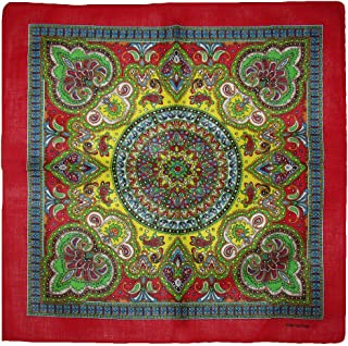 Ruffin Flag Company 22x22 Inch Ornate Paisley Mosaic Multi Color Red Border Bandana