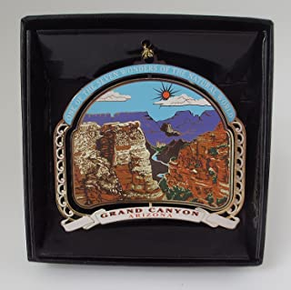 Grand Canyon Ornament Souvenir Color Brass Black Leatherette Gift Box