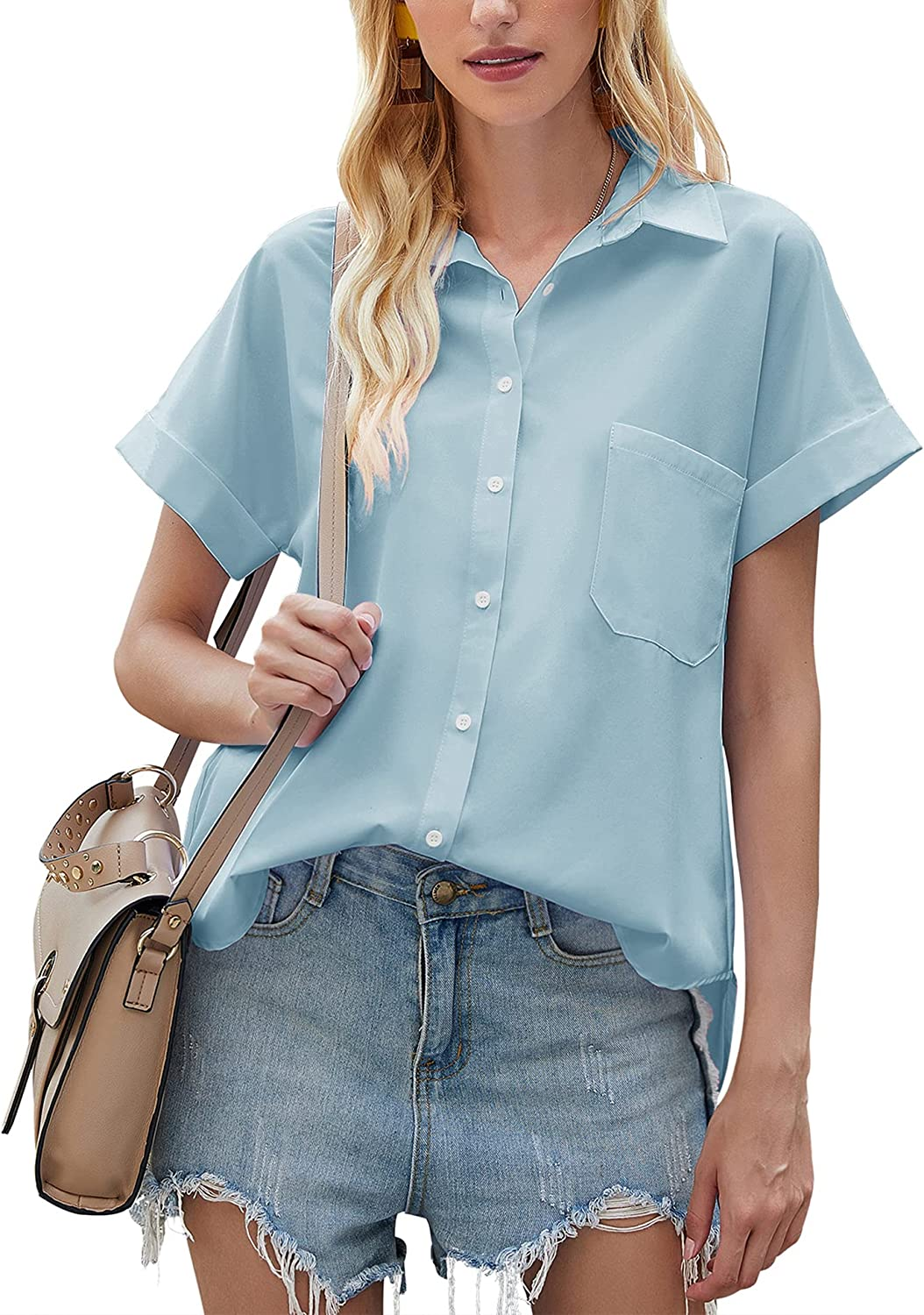 LOMON Womens Button Down Shirts V Neck Short Sleeve Roll Up Cuffs Blouse Casual Tops with Pockets