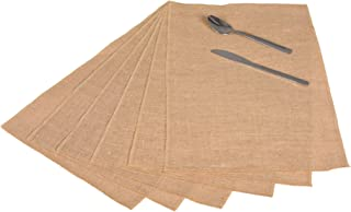 Jucos Burlap Placemat Set of 6 12 x 18 Inch for Rustic Jute Natural Colour Interlocked Vintage Rustic Burlap Placemats No Fray High Density Sewn Edges for Thanksgiving Christmas Farmhouse Decor