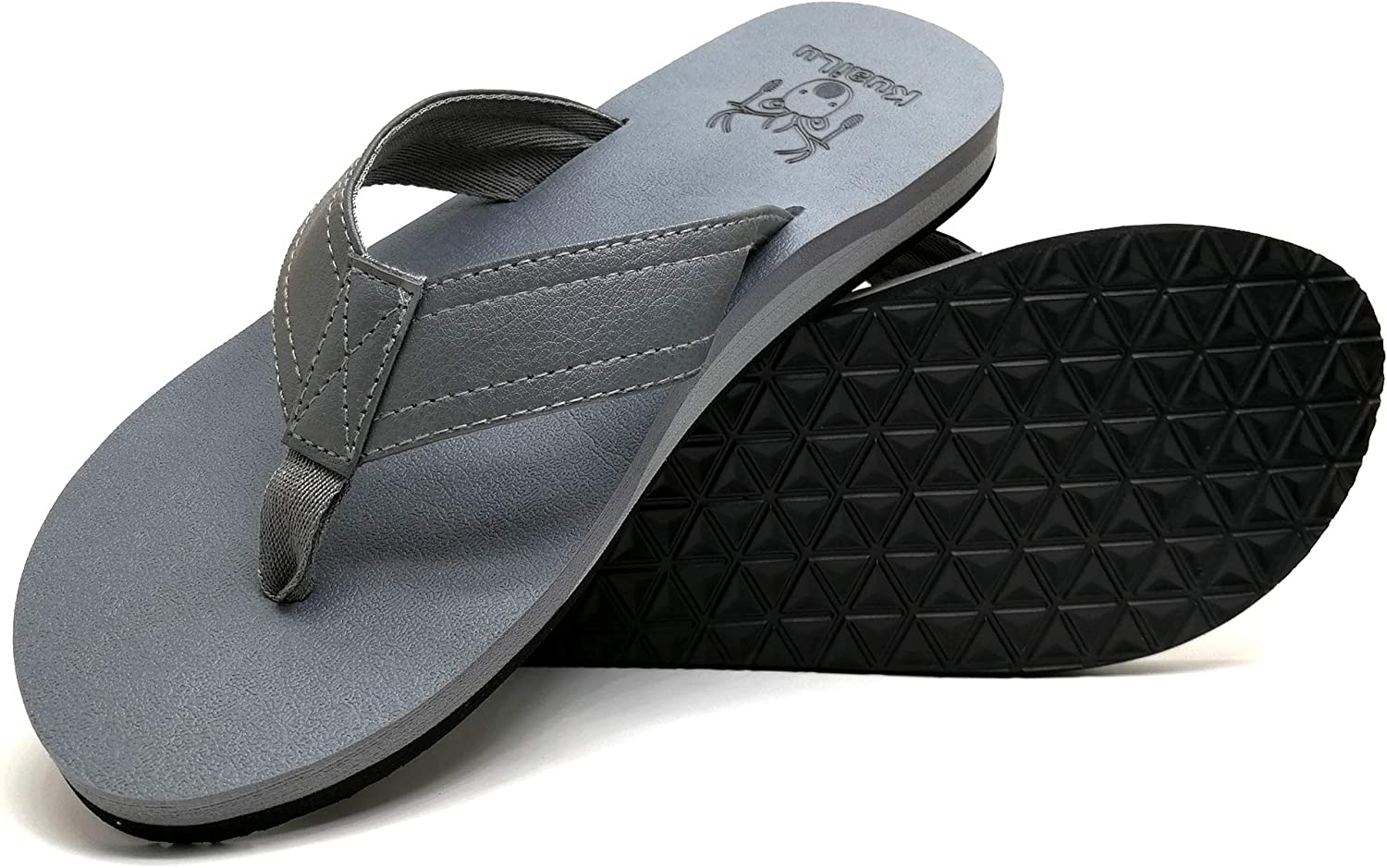 KuaiLu Men's Yoga Mat Leather Flip Flops Thong Sandals with Arch Support
