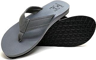 KuaiLu Men's Yoga Mat Leather Flip Flops Thong Sandals Arch Support