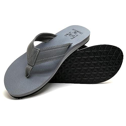 9c21e8d49bea KuaiLu Men s Yoga Mat Leather Flip Flops Thong Sandals with Arch Support