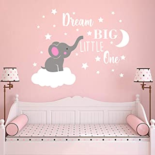 Dream Big Little One Elephant Wall Decal, Quote Wall Stickers, Baby Room Wall Decor, Vinyl Wall Decals for Children Baby Kids Boy Girl Bedroom Nursery Decor(Y42) (Soft Pink, White(Girl))
