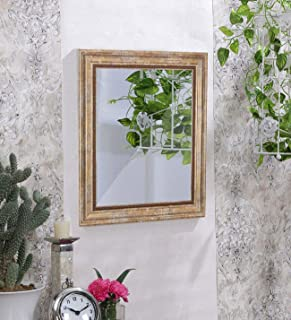 Art Street Wall Perl Decorative Wall Mirror Antique Gold Color Inner Size 12 x 18 inch, Outer Size 16 x 22 inch