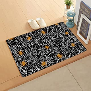 Abstract Orange Spide-r, Doormat for Outdoor Indoor Front Door Entrance Kitchen 18''x30'', Webs Black Backdrop Durable PVC...
