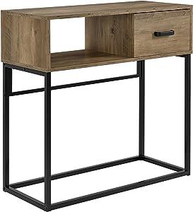 [en.casa]] Tavolo consolle con mensola e cassetto - 80 x 35 x 80 cm scrivania, tavolo cosmetici - nero-noce