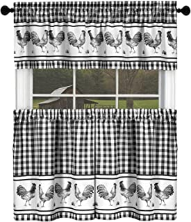 GoodGram Country Home Plaid Rooster Kitchen Curtain Tier & Valance Set - Assorted Colors & Sizes (24 in. Long, Black)