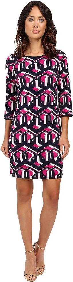 """Lock Eyes"" 3/4 Sleeve Printed Matte Jersey Dress"