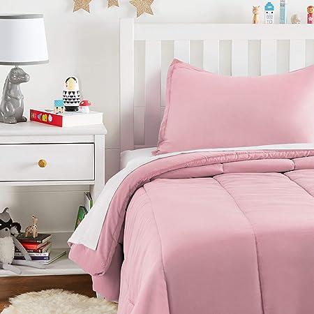 Amazon Basics Kid's Comforter Set - Soft, Easy-Wash Microfiber - Twin, Light Pink