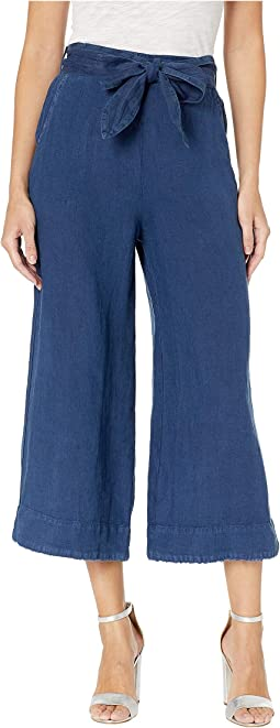 Belted High-Waisted Linen Crop Pants