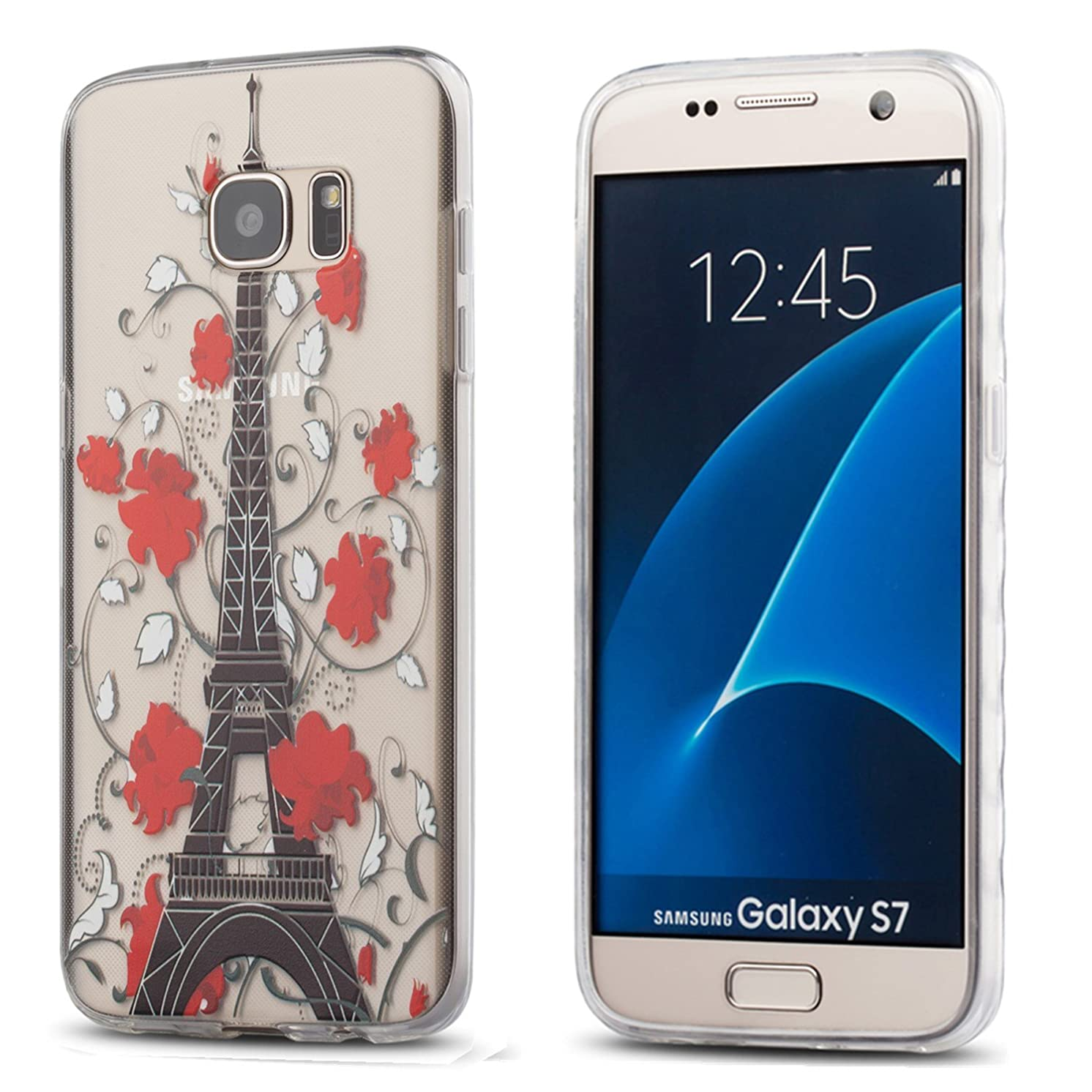 Galaxy S7 Case,3Cworld Ultra Thin Clear Art Pattern Crystal Gel TPU Rubber Flexible Slim Skin Soft Case for Samsung Galaxy S7 (Eiffel Tower /Flower- red)