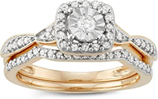 10K Rose Gold 3/8 Cttw Diamond Engagement Ring With Center Miracle Plate