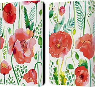 Official Ninola Poppies Red Floral Leather Book Wallet Case Cover Compatible for iPad Air 2 (2014)
