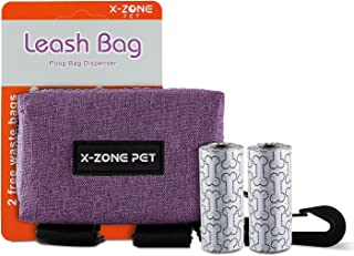 X-ZONE PET Dog Poop Bag Holder Dispenser, Includes 2 Roll of Pick-up Waste Bags,Hook Loop,Premium Quality Lightweight Fabric, Walking, Running or Hiking Accessory