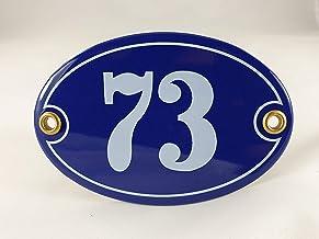 Emaille huisnummer bord nr. 73, ovaal, blauw-wit Nr. 73 Blau-Weiß + Schrauben und Dübel
