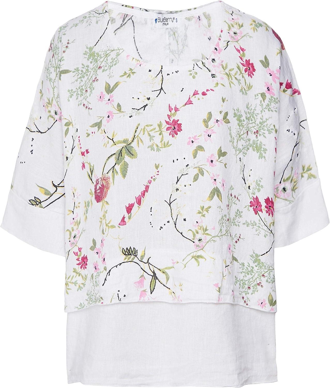 blueeberry Italia Women's Linen Garden Print Top White