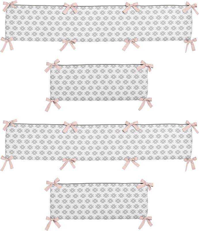 Sweet Jojo Designs Blush Pink And Grey Geometric Tribal Baby Crib Bumper Pad For Aztec Collection By