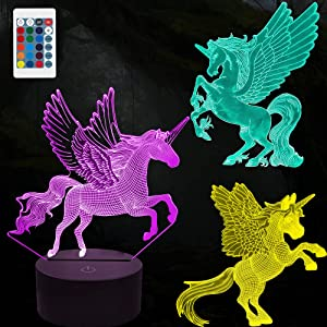 3D Unicorn Night Light for Kids,3D Illusion Lamp 3-Pattern & 16 Colors Change Decor Nightlight with Remote Control for Living Bed Room Bar, Best Unicorn Toys Gifts for Boys Girls Age 3-15 Gifts