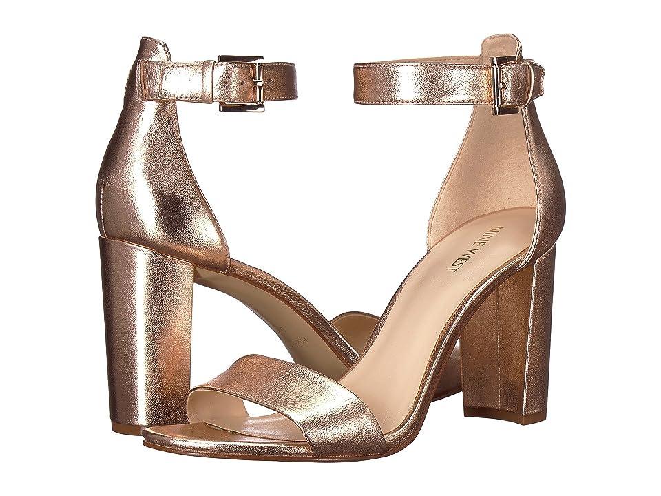 Nine West Nora Block Heel Sandal (Pink Metallic) Women