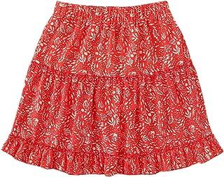 WDIRARA Mini Faldas con Volantes de Cintura Alta con línea en A y diseño Floral para Mujer