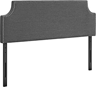 Modway Laura Upholstered Queen Headboard Size with Cut-Out Edges and Nailhead Trim, Gray Fabric