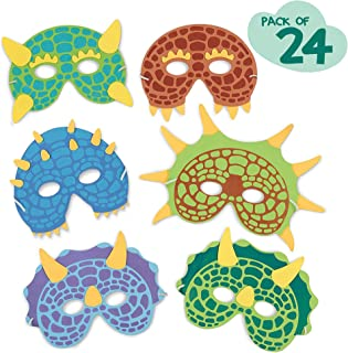 Dinosaur Birthday Party Supplies: 24 Dinosaur Party Masks - Masquerade and Halloween Dinosaur Face Mask - Foam Dinosaur Mask for Kids Themed Party Favors Decorations and Hats