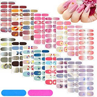 16 Sheets Full Wrap Nail Polish Stickers Colorful Manicure Kits Self-Adhesive Decals Strips Nail Art Designs with 2 Pieces...