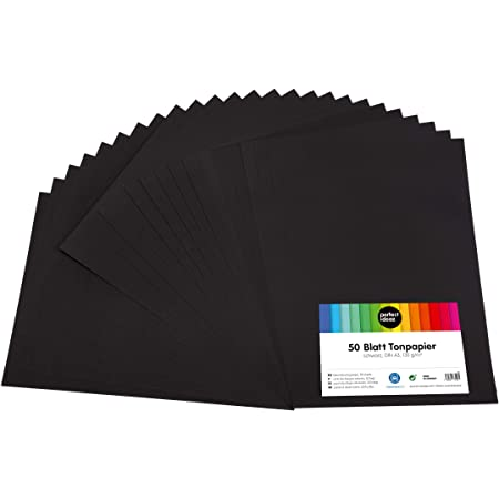 perfect ideaz 100 feuilles de Cartonette A4, Papier à dessin noir, teinté dans la masse, grammage 130 g/m², Feuilles de bricolage d'excellente qualité