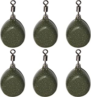 Flat Pear Swivel Sinker Weights 2OZ - 6pcs Coated Tapered Flat Pear Weights for Carp Fishing Black, Brown, Green