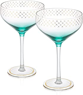 Trinkware Soiree Set of 2 Champagne Coupes - Gold Detail With Blue Crystal Clear - 12oz, 7.5-inches Tall – Elegant Glassware And Stemware