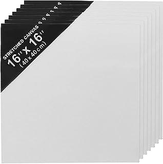 Lienzo en Blanco (Pack de 7) (40cm x 40cm) Panel Lienzo para Artista - Lienzo para Pintar Acuarela - Lienzos para Oleo y Pintura Acrílica - 3mm de Grosor