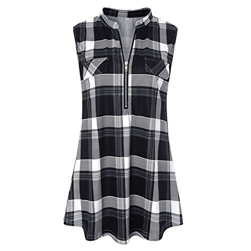 16d18e210a9649 Luranee Womens Sleeveless Plaid Shirts V Neck Casual Nice Zip Up Tunic Tank  Tops
