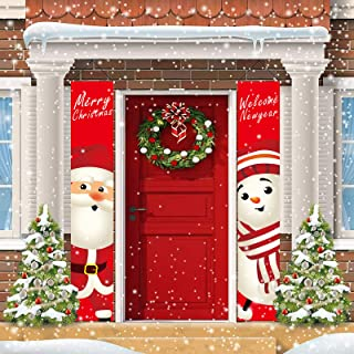 Christmas Decorations, Queama Porch Sign Santa Clause and Snowman Merry Xmas Decor Hanging Banners for Home Yard Indoor Ou...