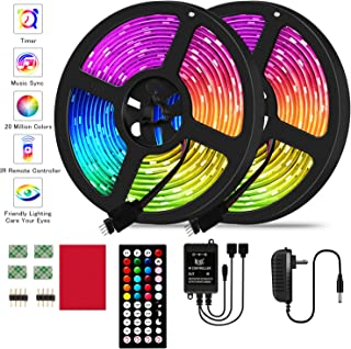 LED Strip Lights19.68ft RGB LED Strip Lights 5050 LED Lights,Color Changing LED Strip Lights with 44 Keys IR Remote Lights for Home Decoration,12V Power Supply LED Light with Music Sync Color Changing